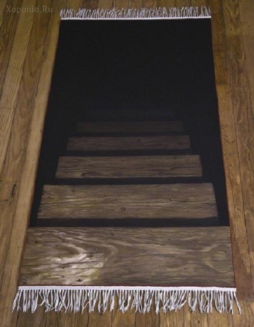 коврик обманка, лестница в подвал
